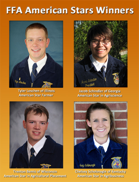 FFA American Star Winners: Tyler Loschen of Illinois (Farmer), Jacob Schindler of Gerogia (Agriscience), Trenton Bemis of Wisconsin (Agricultural Placement), and Chelsey Scholsnagle of Kentucky (Agribusiness)